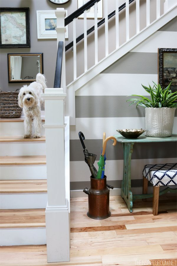 {stair trim} Gray and White Striped Entry Wall - The Inspired Room