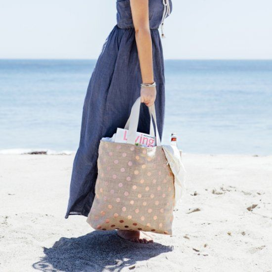 Learn how to make our favorite, simple and sturdy tote bag! Yes... we made this one with metallic pink polka dot burlap!