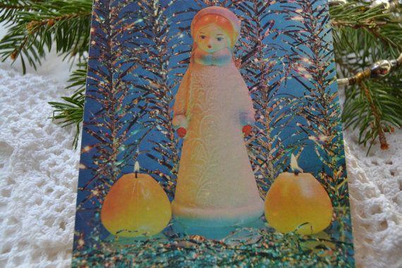 Unused Christmas postcard Snegurochka by SilentNightSales on Etsy
