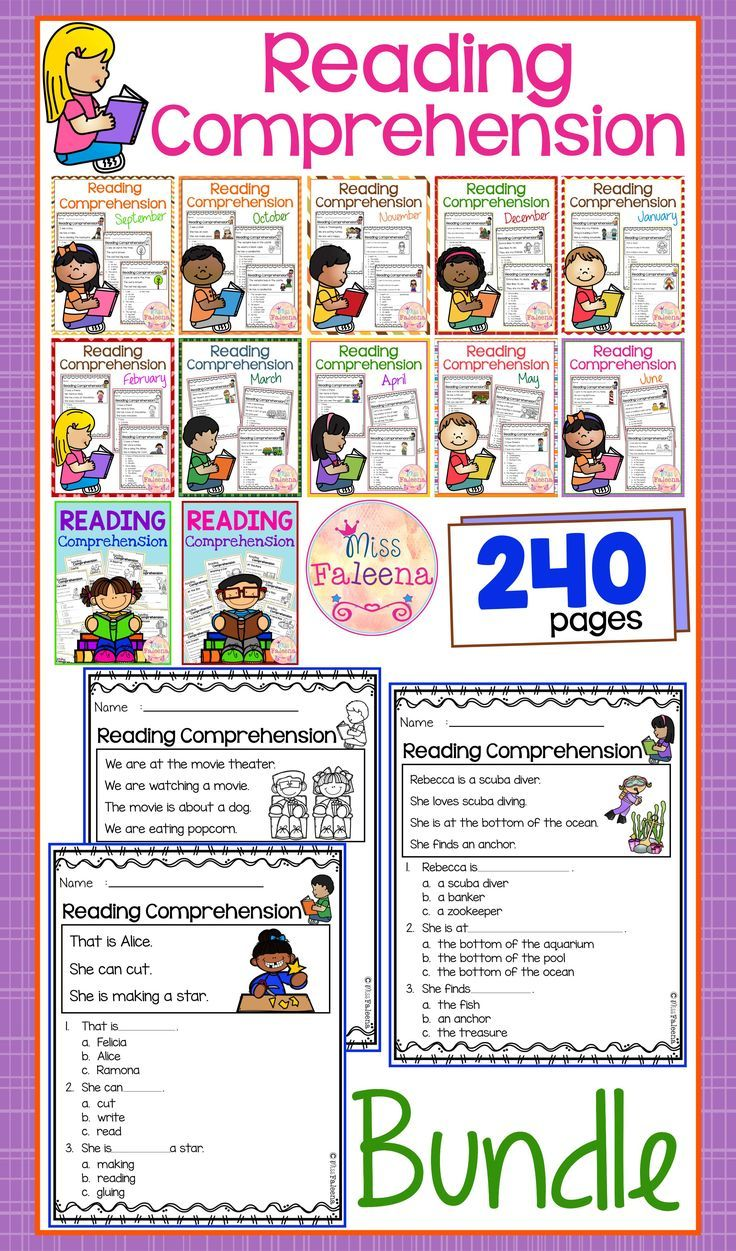 Reading Comprehension the Bundle is suitable for Kindergarten students or beginning readers. This product is helping children to sharpen reading and comprehension. There are 240 pages of reading comprehension worksheets.  Preschool | Preschool Worksheets | Kindergarten | Kindergarten Worksheets | First Grade | First Grade Worksheets | Reading| Reading Comprehension | Reading Comprehension The Bundle | Reading Comprehension Literacy Centers | Printables| Worksheets
