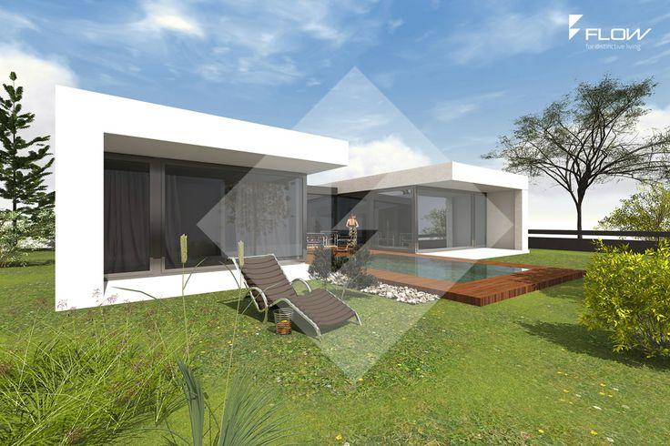 moderner Bungalow in U-Form mit windgeschützter Terrasse ...