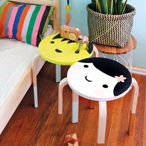 Kawaii Ikea Frosta stool #Ikea #frosta #stool #diy #ikeahack #kidsroom #kawaii credit: molliemakes.com