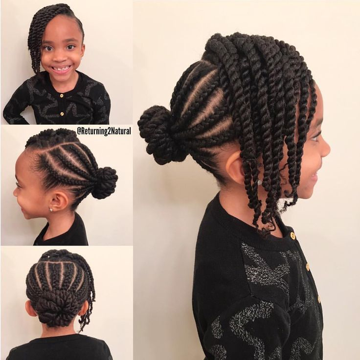Very Nice And Simple Cornrow And Twist Bun Hairstyle On Natural