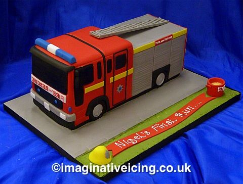 Fire Engine Shaped Birthday/long service Cake
