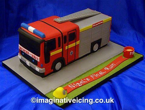 Fire Engine Shaped Birthday/long service Cake
