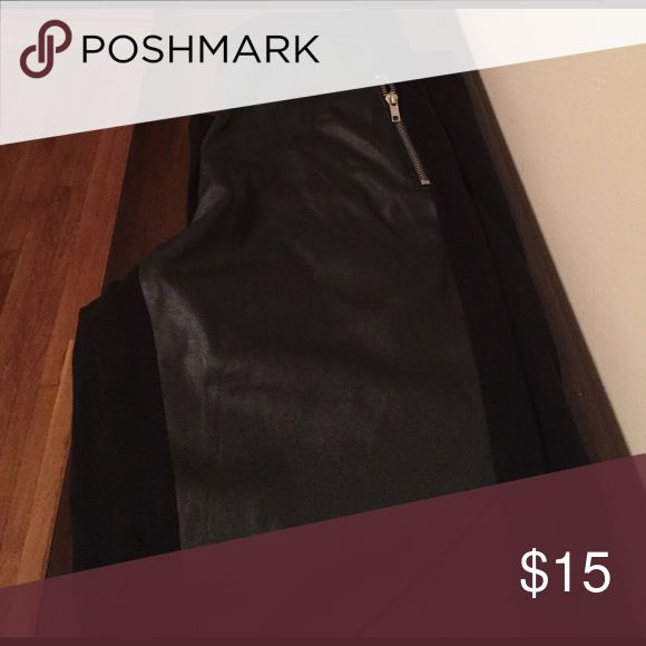 H&M leggings with faux leather in the front Like new! H&M leggings with faux leather down the front legs. H&M Pants Leggings
