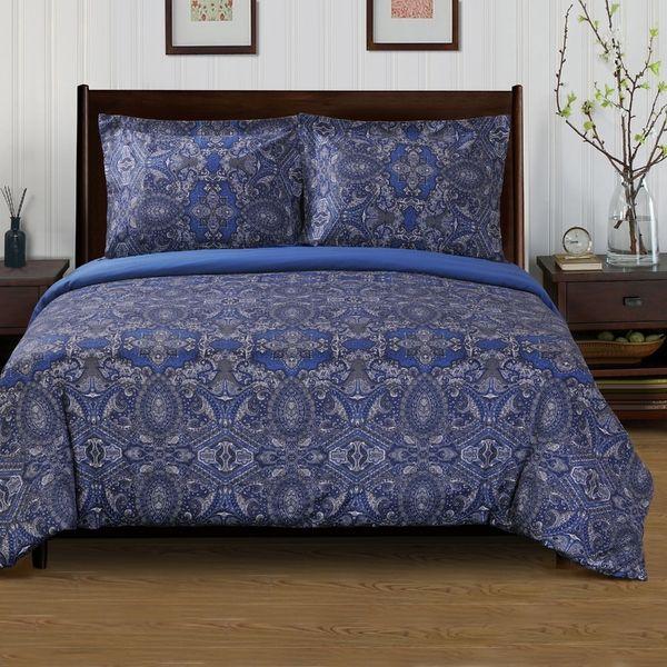 Superior 300 Thread Count Cotton Reversible Alderwood Navy Blue Duvet Cover Set