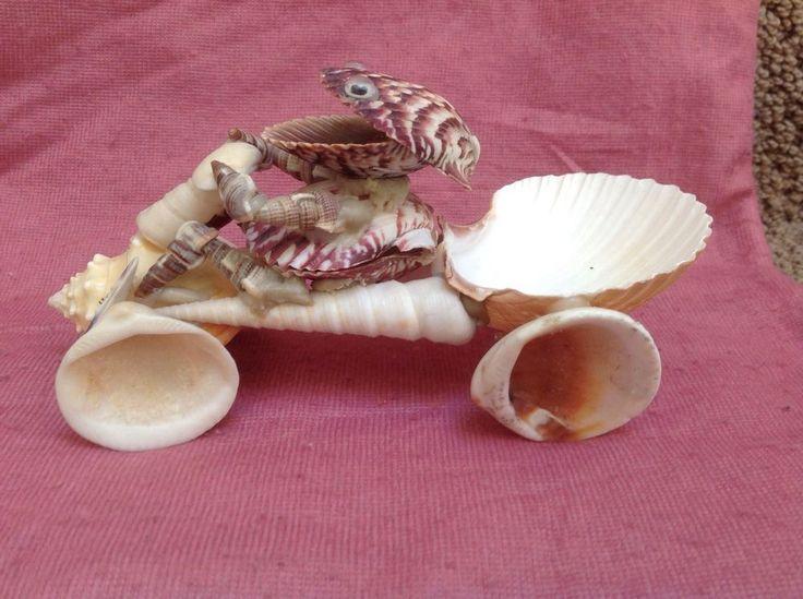Vintage Sea Shell Folk Art HOTROD and Driver ATV Dunebuggy Truck