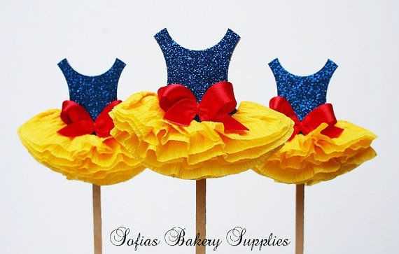 snow white-cupcake toppers So cute as a princess theme!