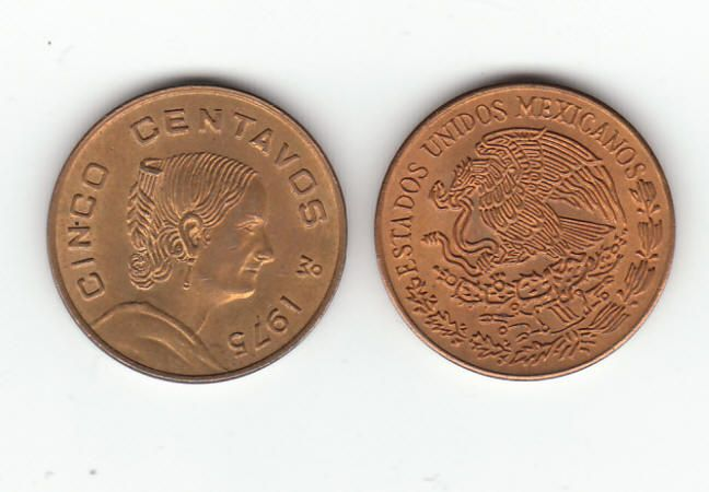Mexico 5 Centavos Coin:  brass, circulated, attractive with little to no wear, 1975, Josefa Ortiz de Domínguez on obverse and the seal of the United Mexican States on the reverse. $1