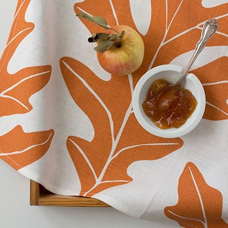 Oak Leaf Linen Tea Towel in Copper $20