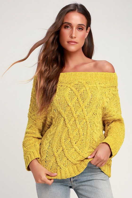 a2e8ad46754a7b Chenille'd It Mustard Yellow Off-the-Shoulder Chenille Sweater Nail an  on-trend OOTD by pairing the Lulus Chenille'd It Mustard Yellow Off-the- Shoulder ...