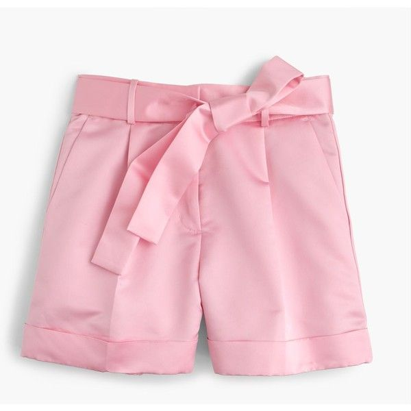 J.Crew Tie-Front Satin Short ($300) ❤ liked on Polyvore featuring shorts, short shorts, j crew shorts and satin shorts
