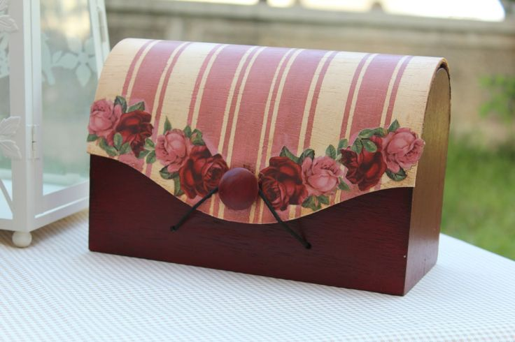 I think this is a glued on stripe fabric, painted bottom and decoupaged roses on top of fabric. IMG_3369.JPG (1600×1066)