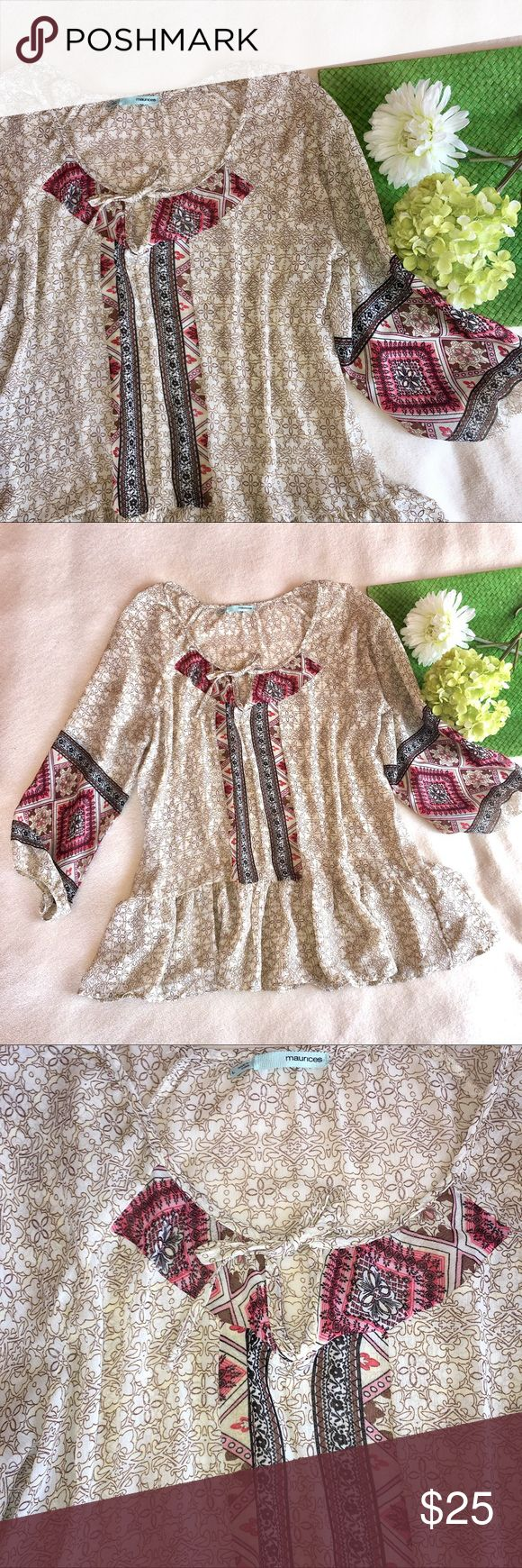 """Boho flowy chiffon Aztec blouse [FESTIVAL WEAR] Length: 28"""" 