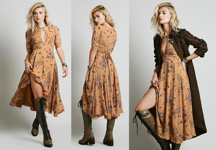 Free People Bonnie Dress mustard Retro inspired printed ...