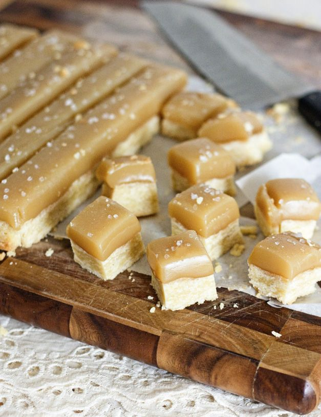 Buttery shortbread topped with sweet and salty caramel - the perfect one-bite to satisfy your sweet tooth!