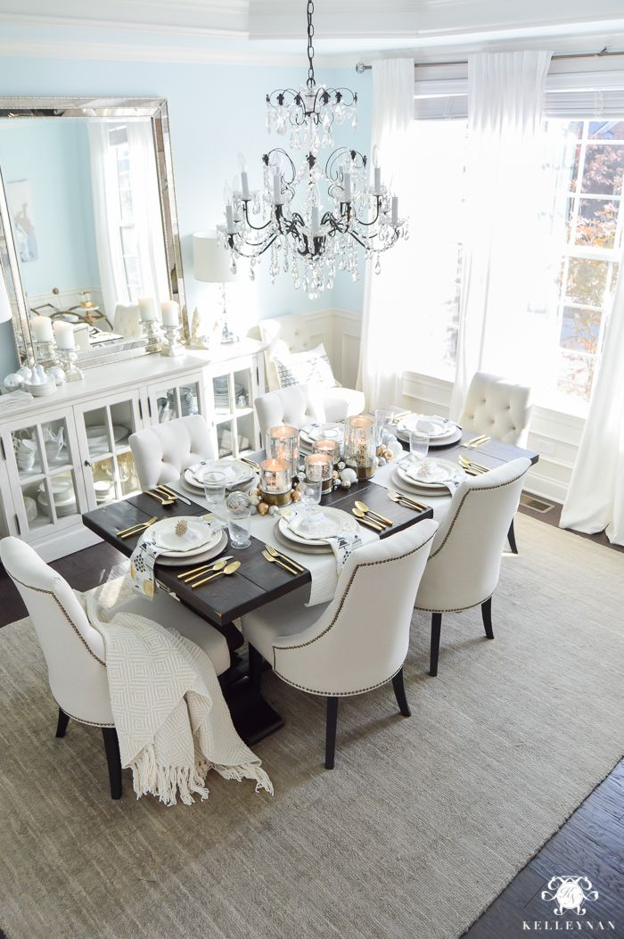 Transition Your Dining Room From Thanksgiving To Christmas With This Simple Snowflake Dinner Tablescape