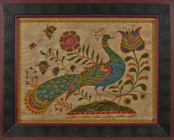 "Modern fraktur design by David Y. Ellinger (American 1913-2003), watercolor of a peacock, signed lower left, 12 1/4"" x 16 1/4"".  (Sold at Pook & Pook for $1185)"