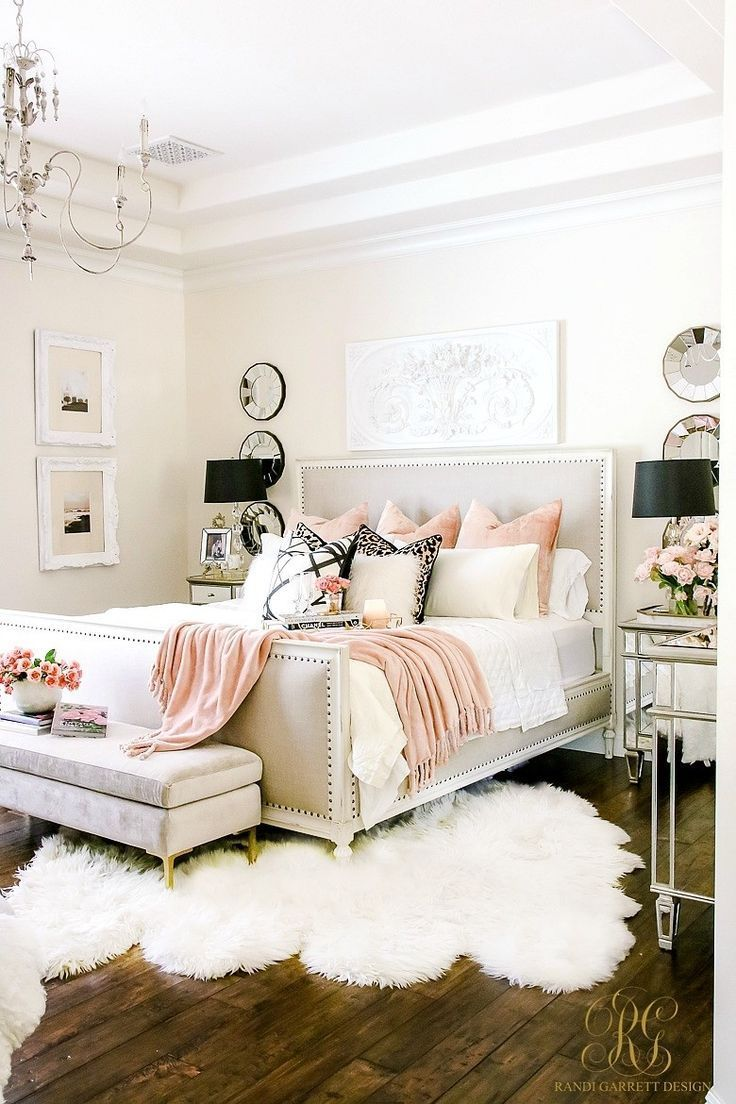 Pink and white master bedroom decor, girly bedroom decor ...