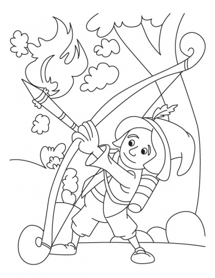 Archery coloring page download free archery coloring for Crossbow coloring pages