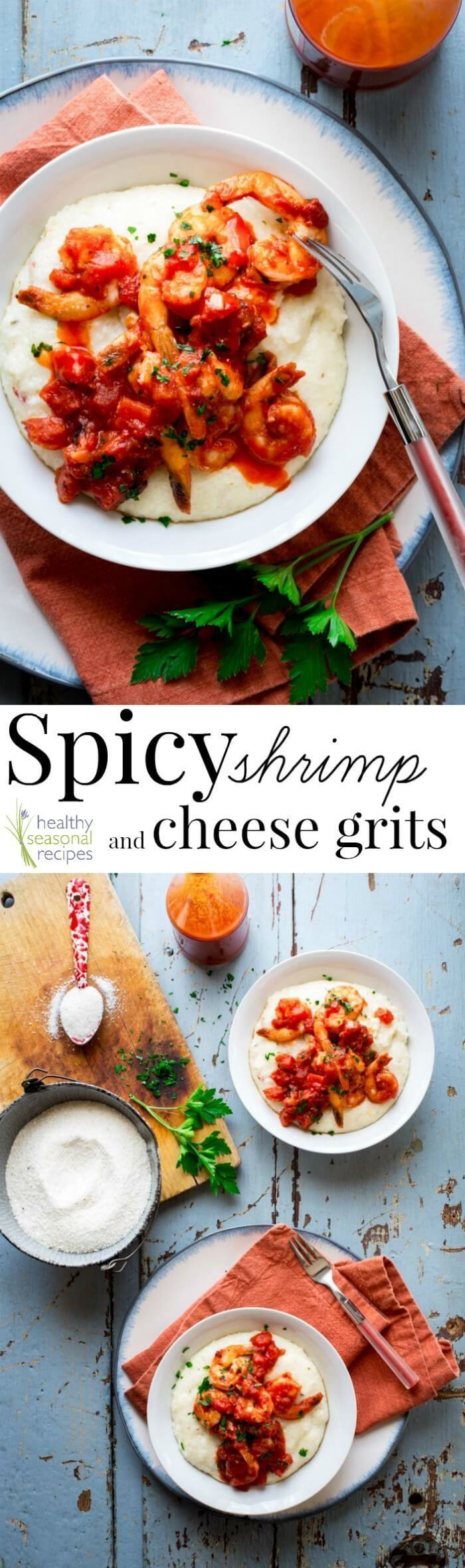 #Sponsored. This Spicy Shrimp and Cheese Grits with Tomatoes recipe is the best! It is so fast, delicious and healthy. Naturally gluten-free and ready in 17 minutes flat! @healthyseasonal #lentrecipe #mardigras #seafoodrecipe #shrimpandgrits