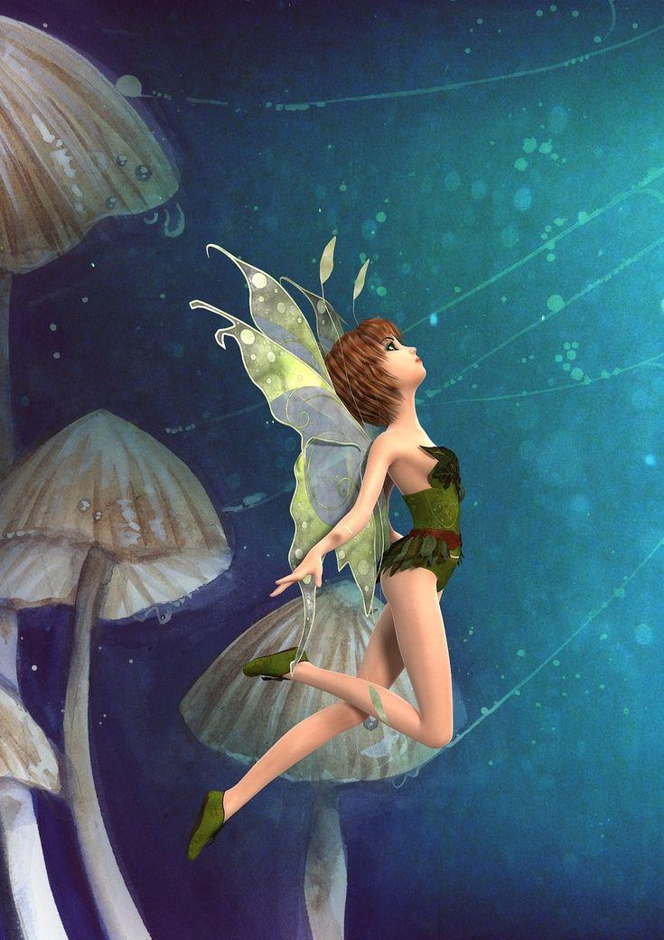 요정, 동화, 공상 과학 소설, 버섯, 녹색, 마법의, 공상, 귀여운, 마술, 이야기, 꿈, 소녀