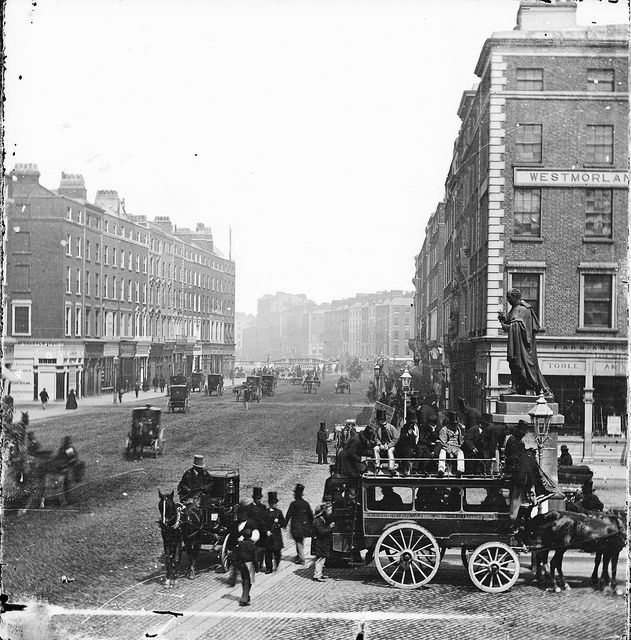 Horse-drawn Omnibus, Westmoreland Street, Dublin | Today we have the battle of the horse-drawn tram versus omnibus photos. It's Cork (the real capital of Ireland?) versus Dublin (the real capital of Ireland!).  Which is the best image? That might be a little subjective, so perhaps which can we find out the most about?  Date: 1863-1866 (thanks DannyM8)