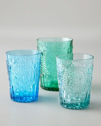 """Fun """"Fleur-de-Lis"""" glasses from Horchow."""