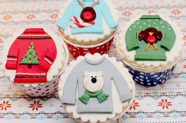 Christmas jumper cupcakes