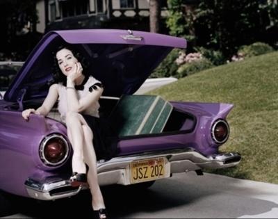 purple car pin up