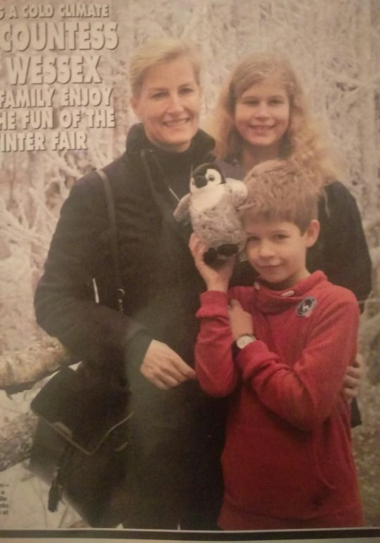 Her Royal Highness The Countess of Wessex with her children The Lady Louise Mountbatten-Windsor (13) and James, Viscount Severn (9) attending Lapland UK in December 2016