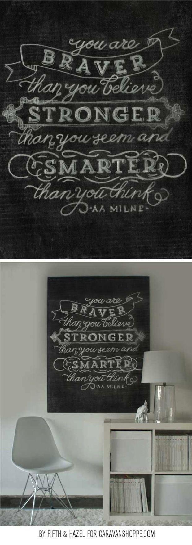 free printable chalkboard artwork (caravan shoppe - staples engineering print)- Braver, Stronger, Smarter