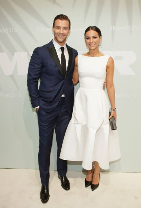 IMAGE 20. Myer ambassador Kris Smith and his partner. The image reflects the 'White Style' carpet photos and guest formal Attire (Myer 2014)