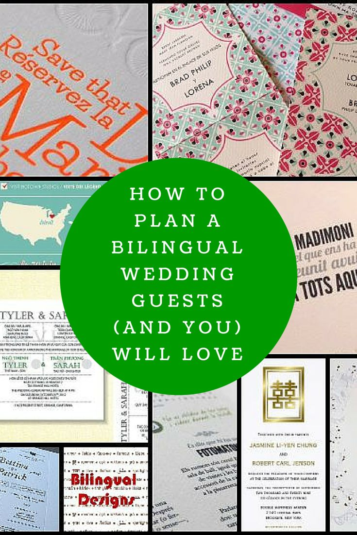Some great ideas for how to incorporate two languages into wedding invitations, ceremony readings, decorations and signs to make bilingual weddings fun. Found on www.multiculturallywed.com