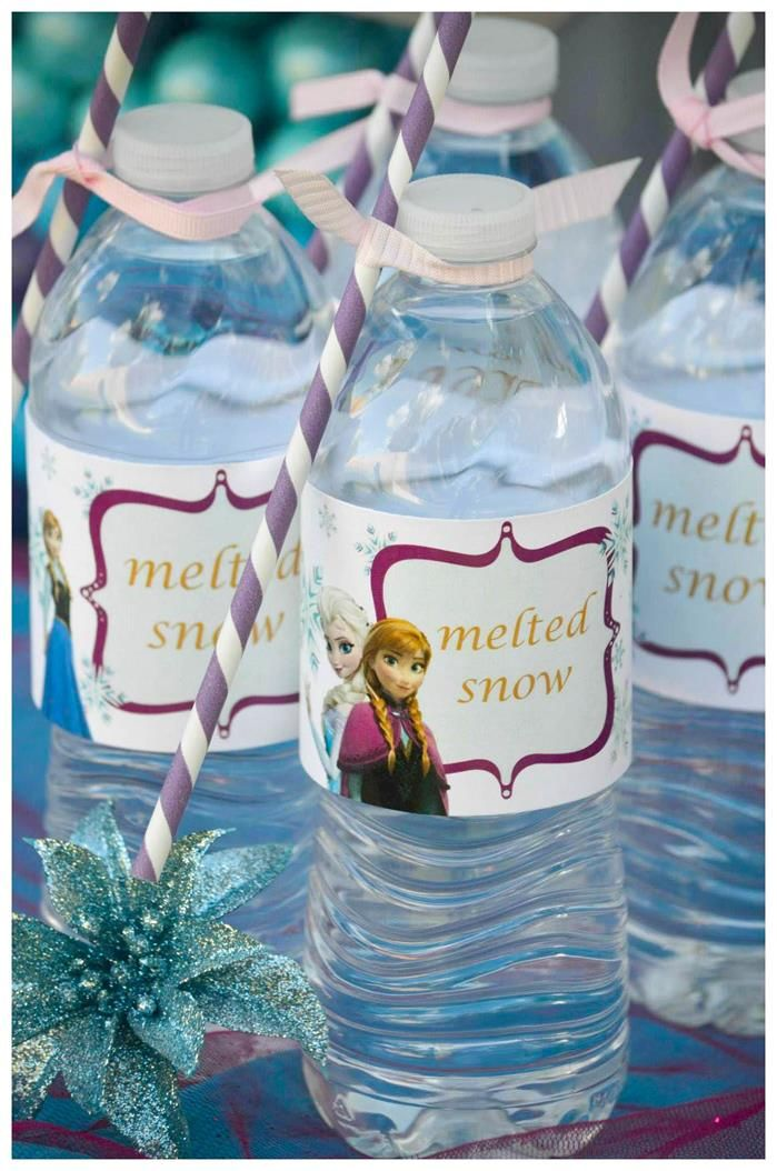 "Label water as ""Melted Snow"" for a Disney's Frozen Themed Party! Found via KarasPartyIdeas.com #frozen #frozenparty"