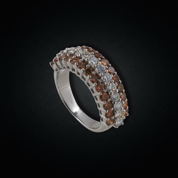 Unusual 18K White Gold Ring with White & Brown Diamonds