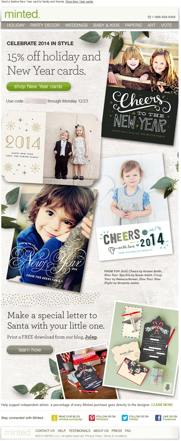 50 best promo code coupon emails images on pinterest email minted com 15 off promo code for holiday and new year cards