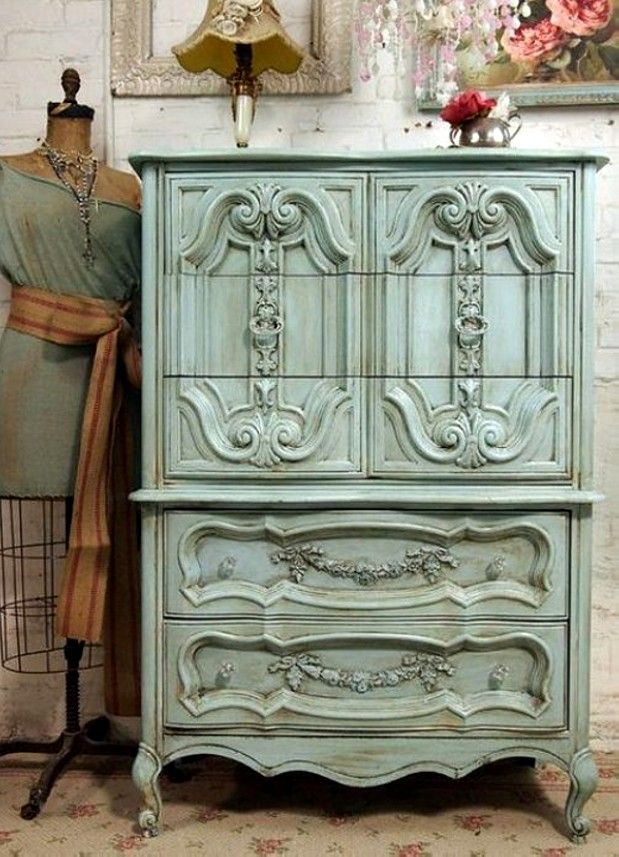Decor Powder Blue Dresser  --Fabulous 'blue' vintage and antique finds for home decor on Ruby Lane. www.rubylane.com #rubylane