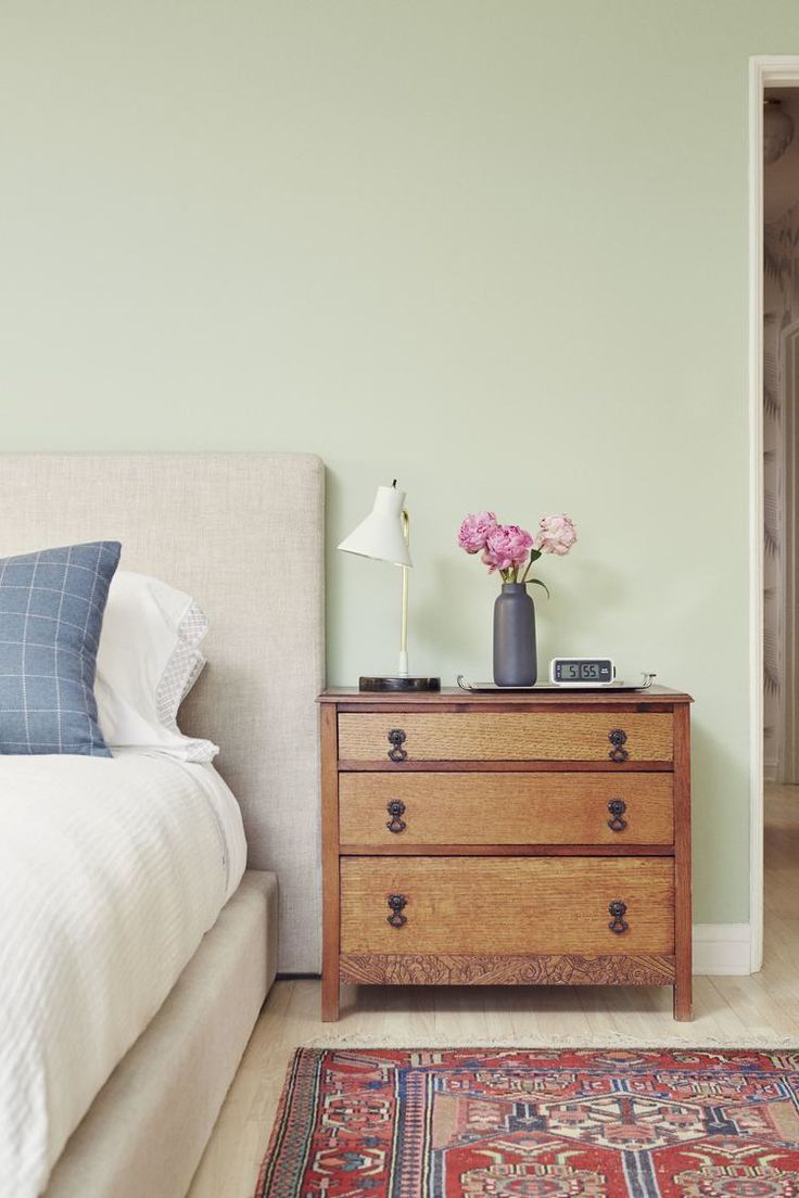 Navy Interior Design: Los Angeles Bedroom, Upholstered Platform Bed, Antique Early California Dresser, Persian Rug, Farrow & Ball Mizzle