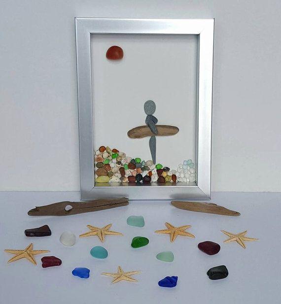 Sea Glass Art pebble art beach decor by SeaglassArtNS #seaglass #giftforhim #mosaicart #upcycledart #surfing
