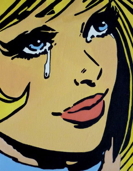 There is a dark aesthetic within pop art which is influenced by surrealism. In this image the girl is crying, the tears making it evident that she is in emotional pain and suffering