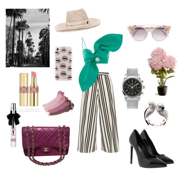 """""""Untitled #320"""" by gloriatovizi on Polyvore featuring Alice + Olivia, Yves Saint Laurent, Maison Michel, Chanel, Jimmy Choo, Rebecca Minkoff, Breitling, Cartier, Gucci and National Tree Company"""