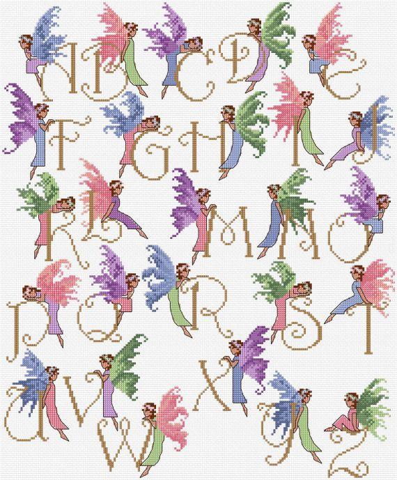Cruz de hadas alfabeto Sampler puntada carta por clairecrompton