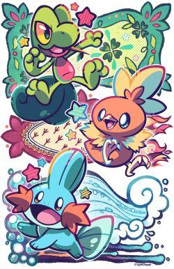 art pokemon Mudkip treecko torchic mega evolution mega blaziken pokemon ORAS mega sceptile mega swampert ruby sapphire CCshop
