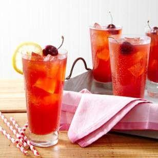 Fresh Cherry Lemonade- 2 c sweet cherries, 1/2c lemon juice, 1/3 c sugar, 2 1/2 c water