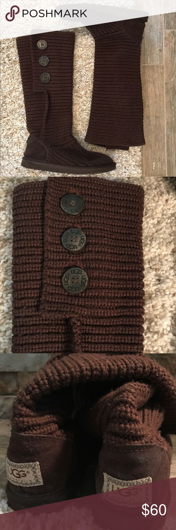 UGG Brown Cardy Knit Boots UGH classic Cardy boots in brown- knit material feels like a cozy winter sweater. Can be worn high or slouched, with 3 large buttons on side. Buttons are reversible to a smaller button giving the boot a new look when cuffed. Worn only 2 or 3 times. Ended up wearing my other pair more- does have some piling, especially on top of foot slight marking on back of right foot by logo. Shaft of boot uncuffed is 14.5'. These are a size 6 and I typically wear a 6.5/7 UGG…