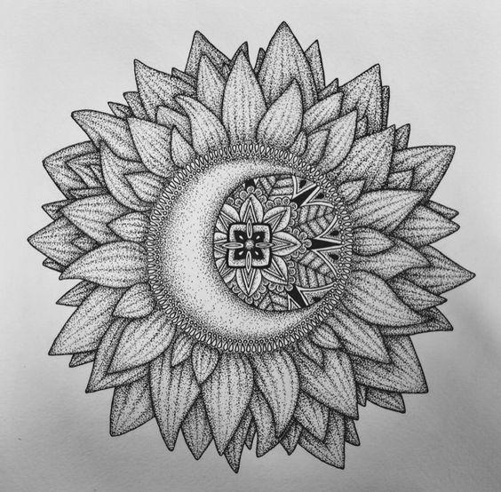 bloom & bones — one of my favorites // sunflower x moon x mandala