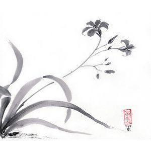 "Original Japanese Art painting ""Wild Lily"" - sumi-e drawing with wash ink - Wall decor from AnimaAllegra - bamboo brash on rice paper"