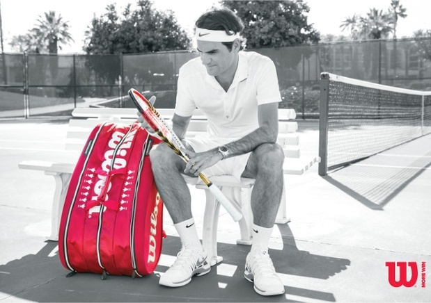 Federer's new, limited edition Wilson Wimbledon 2013 racquet bag. For the Fed-philes out there, the real attraction will be his personalized signature and the seven Wimbledon trophies displayed twice across the top of the bag. If Federer offers a repeat performance this year, there's plenty of room on the bag to draw in an eighth.